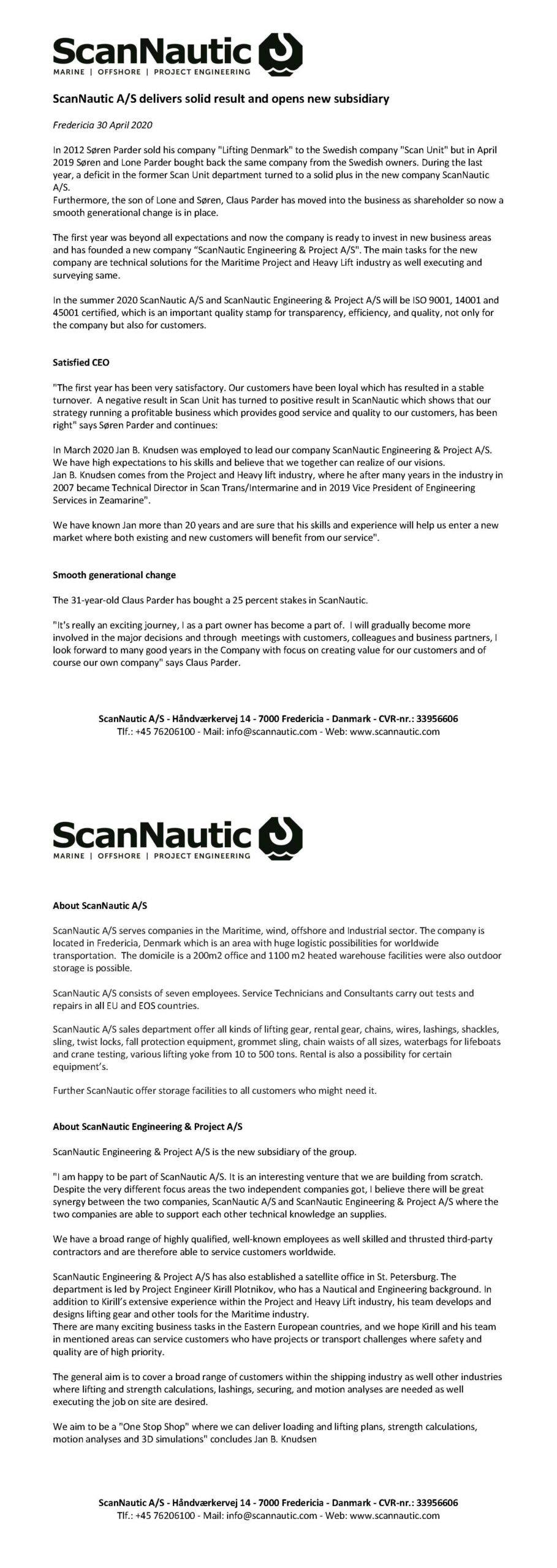 Scannautic press release April 2020